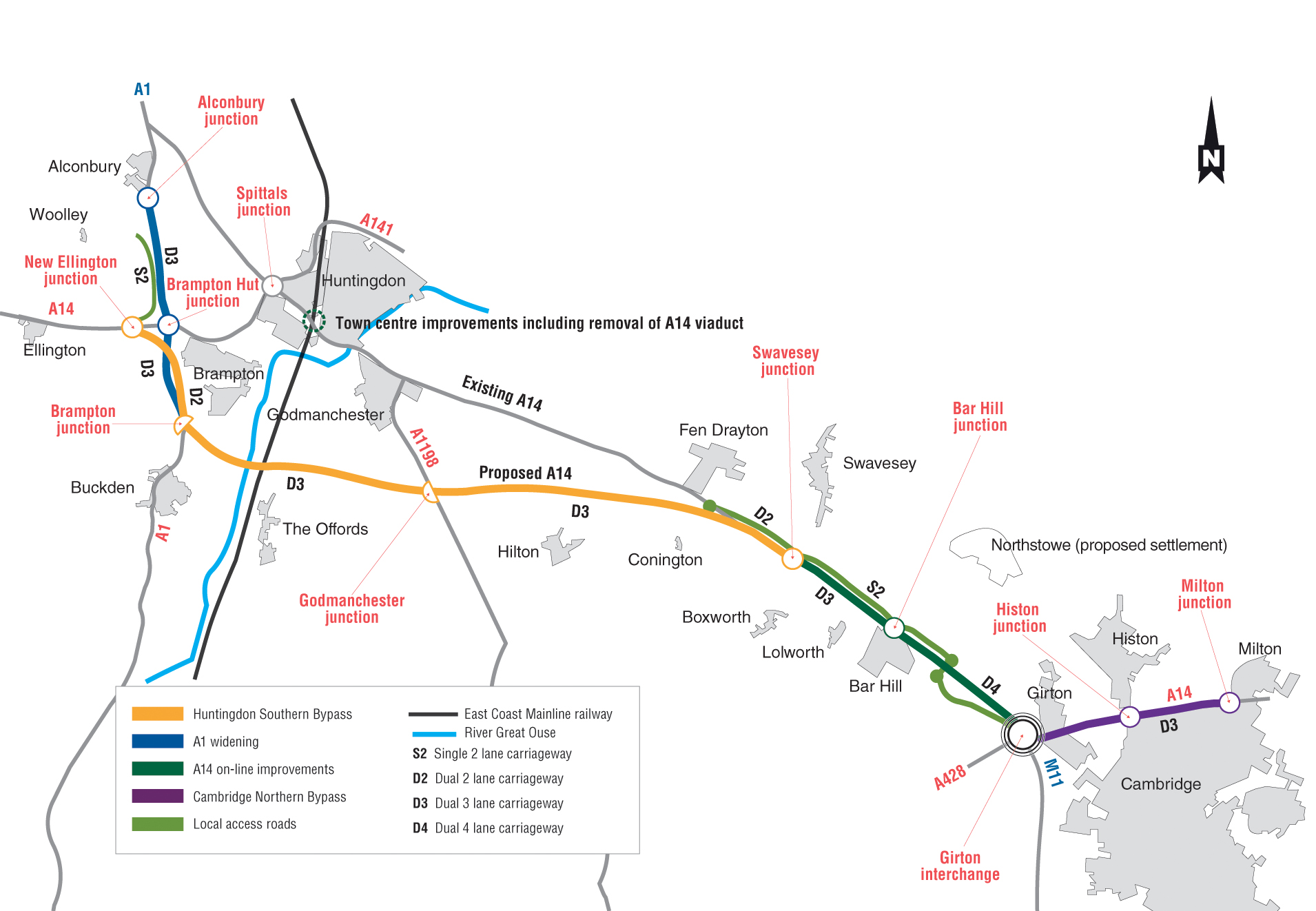 A14 Cambridge to Huntingdon Annex A the proposed route