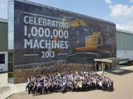 Employees celebrate the production of JCB&#039;s one millionth machine in Staffordshire today - 2