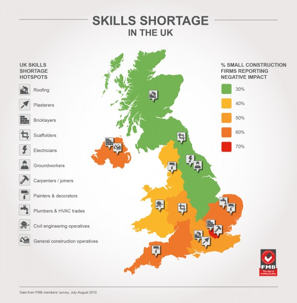 FMB Skills Shortages in the UK - map