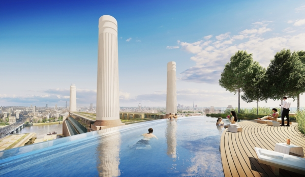 Rooftop Swimming Pool overlooking Battersea Power Station and River Thames