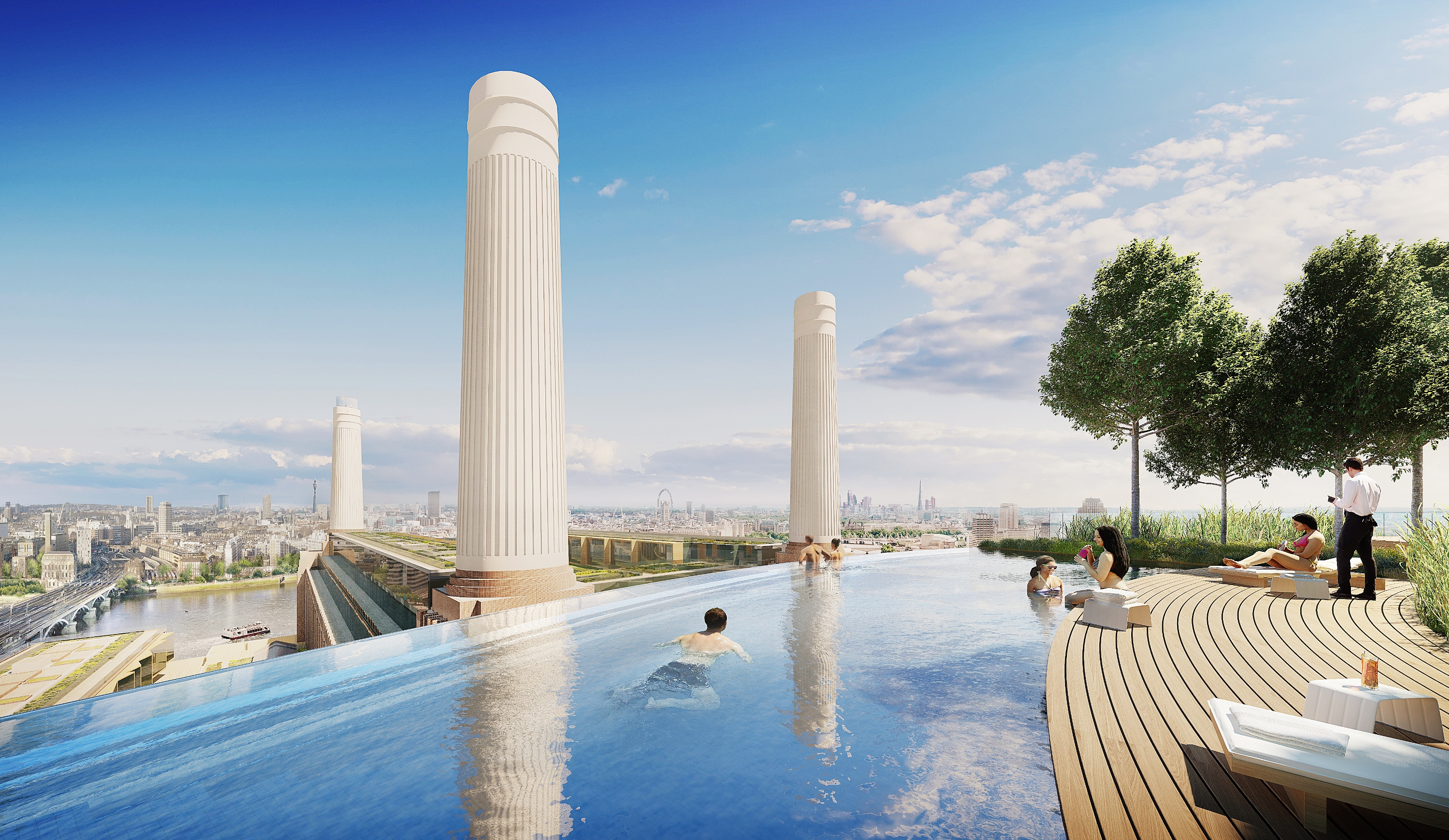 rooftop swimming pool overlooking battersea power station and river thames construction enquirer