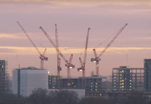 construction, London, skyline, theme, crane