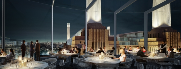 View from double height bar and restaurant across the London skyline and Battersea Power Station