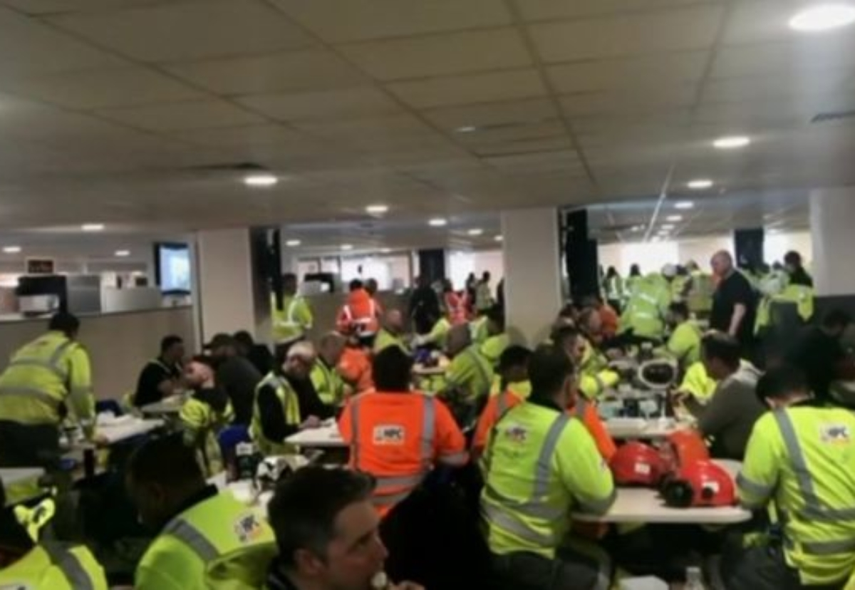 Workers stage sit-in. Picture courtesy of the BBC