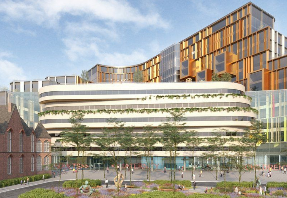 BDP has proposed a hospital structure that is shaped like the contours of the Yorkshire fells and dales, with a large island garden and play deck at its centre