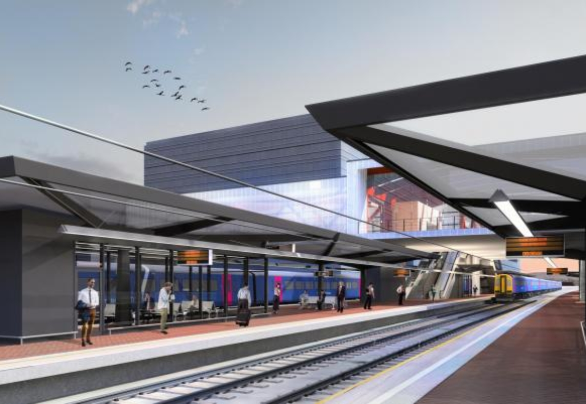 New railway station to include four platforms and a linking single bridge serving the purpose of a public right of way footbridge