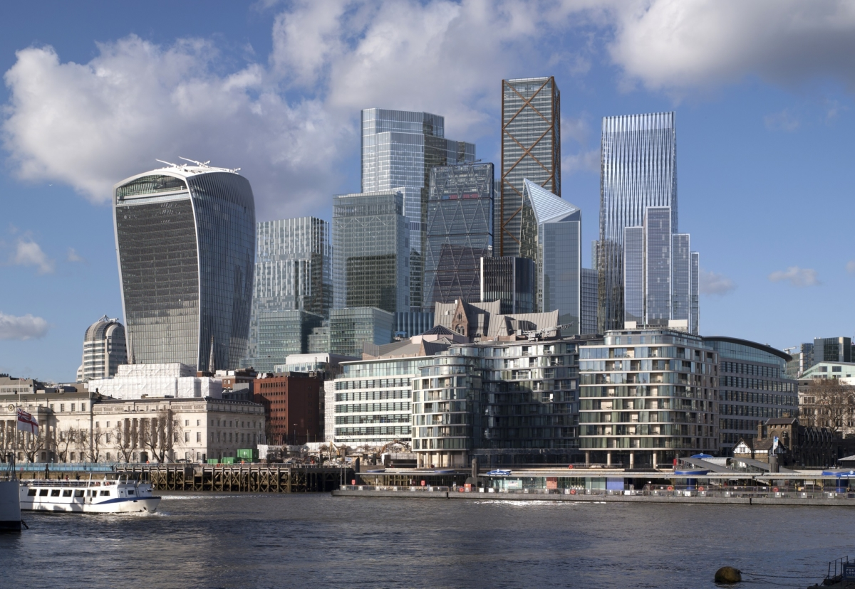 Projected view of the London City Cluster of towers in seven year's time