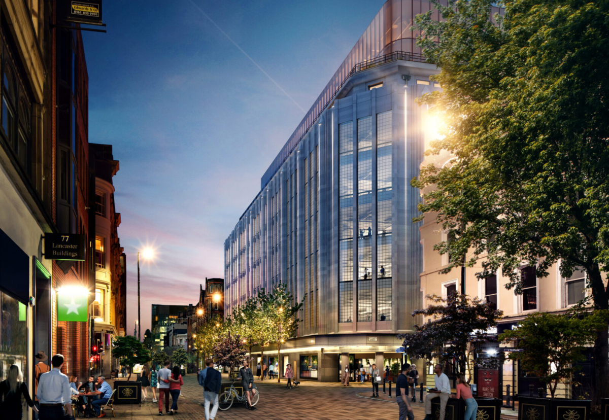 Grade II listed Kendals building will be clad with Portland stone, vertical glass block panels