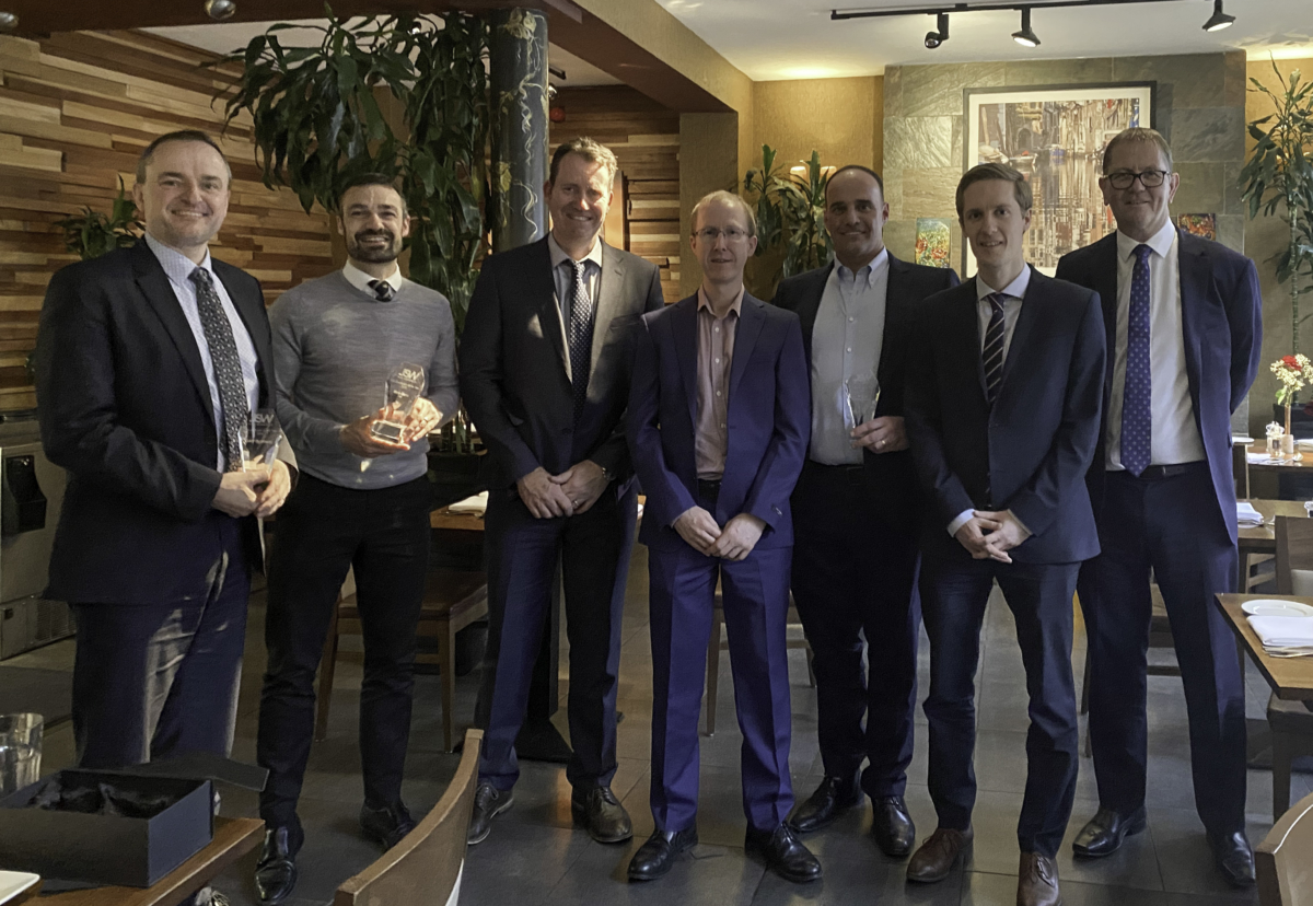 The J S Wright supplier award winners with their hosts at Cucina Rustica in Birmingham: from left to right, SAV Systems Director Jan Hansen, Mec-Serv Director Matt Pullin, J S Wright Managing Director Phil Leech, J S Wright Finance Director Martin Roberts, R&M Fixings & Supports Director Steve Cargill, SAV Systems Head of Strategic Business Development Silas Flytkjaer and J S Wright National Design and Estimating Director Andrew Smith