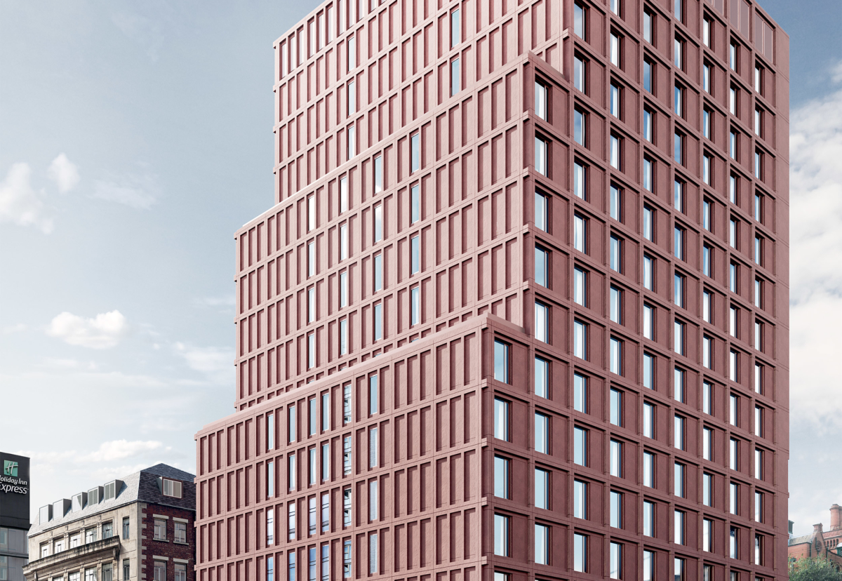 Cladding on the Charles Street building is made up of terracotta-pigmented pre-cast concrete