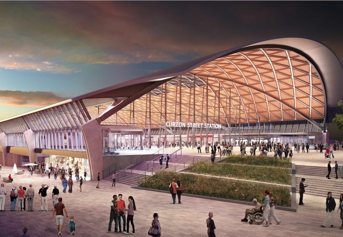 The main station will be a steel and internal timber composite roof structure with trains leaving from a second level below the raised main station concourse