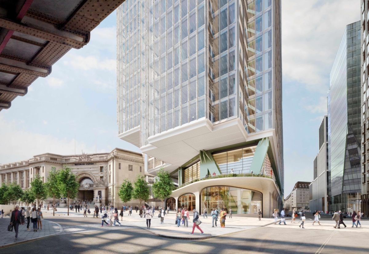 New main tower has been recessed at the base to afford views of Waterloo Station