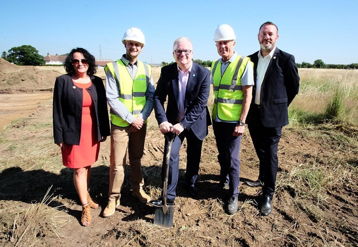 Pictured from left to right: Julie Deeley - Head of Operations for EN:Able Futures CIC, Daniel Roche - Director of M.B.Roche & Sons, Lee Parkinson – Chief Executive of Efficiency North, Dennis Waller, Managing Director of Excel Modular Buildings and Nigel Hollington – Humber Construction Hub Site Manager.