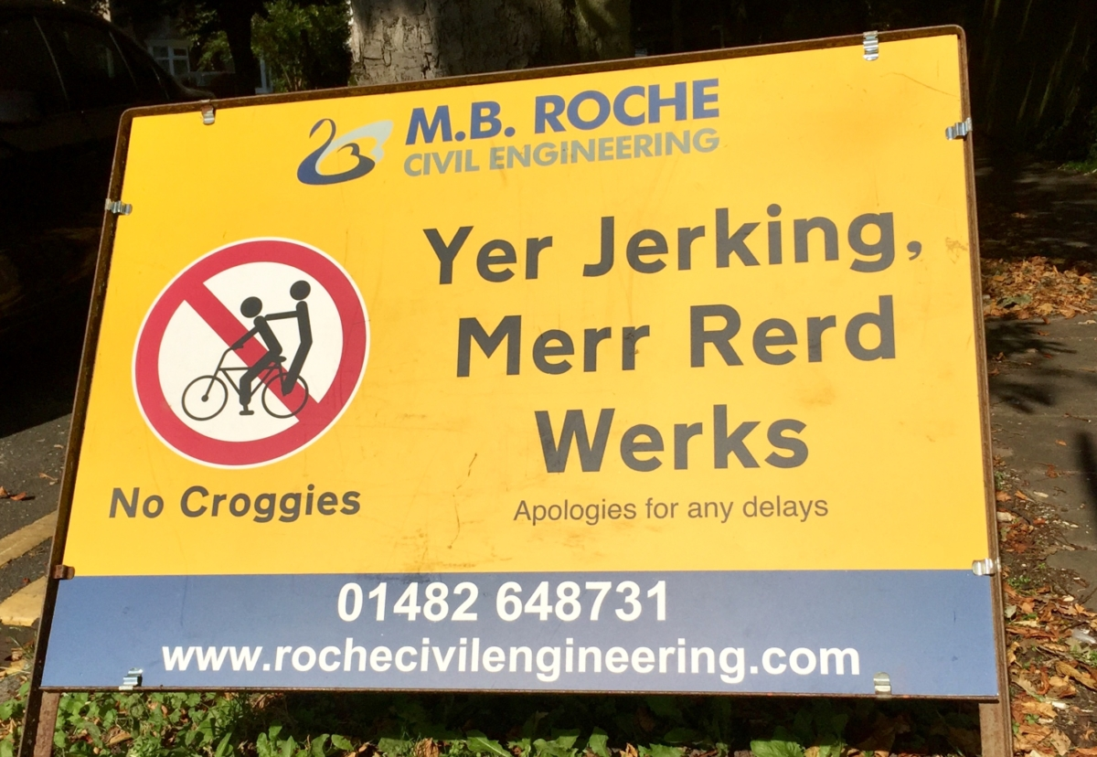 The latest Hull sign. A croggie is local slang for a lift on someone else's bike