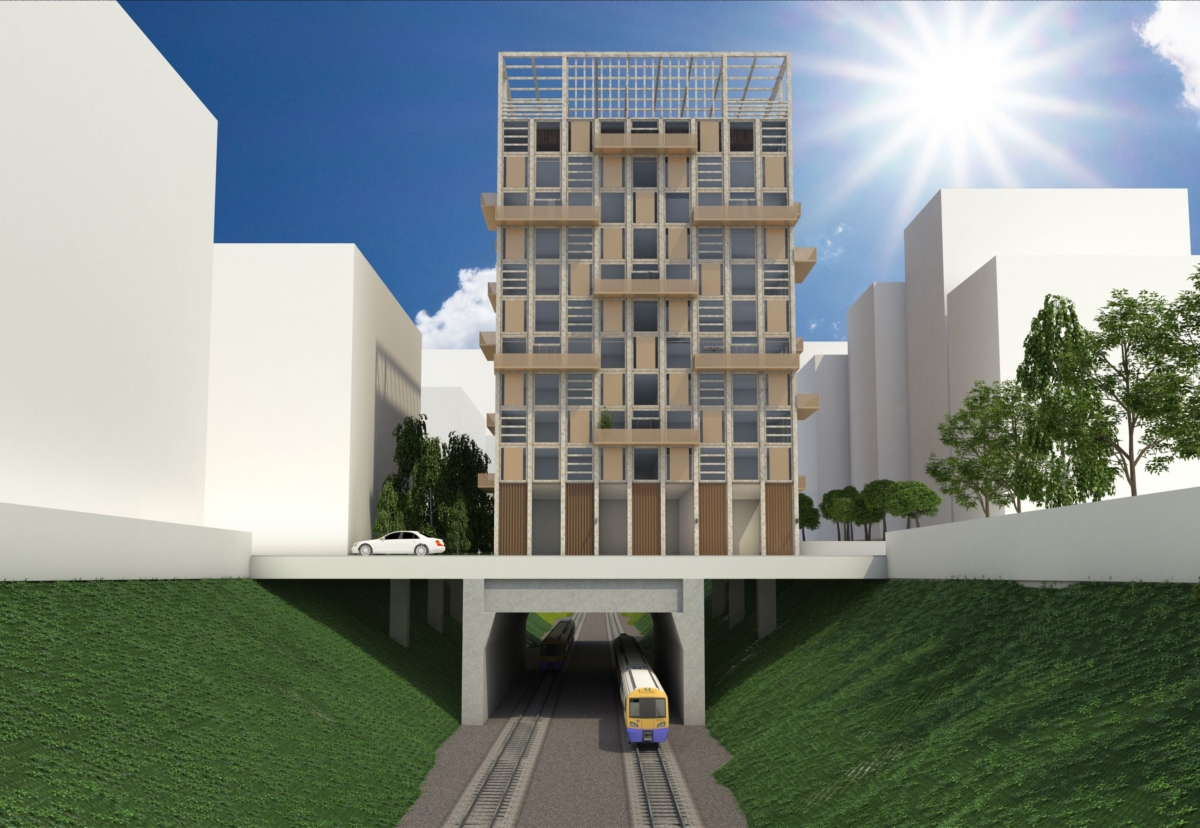 A typical overbuild scheme rising to 12 storeys