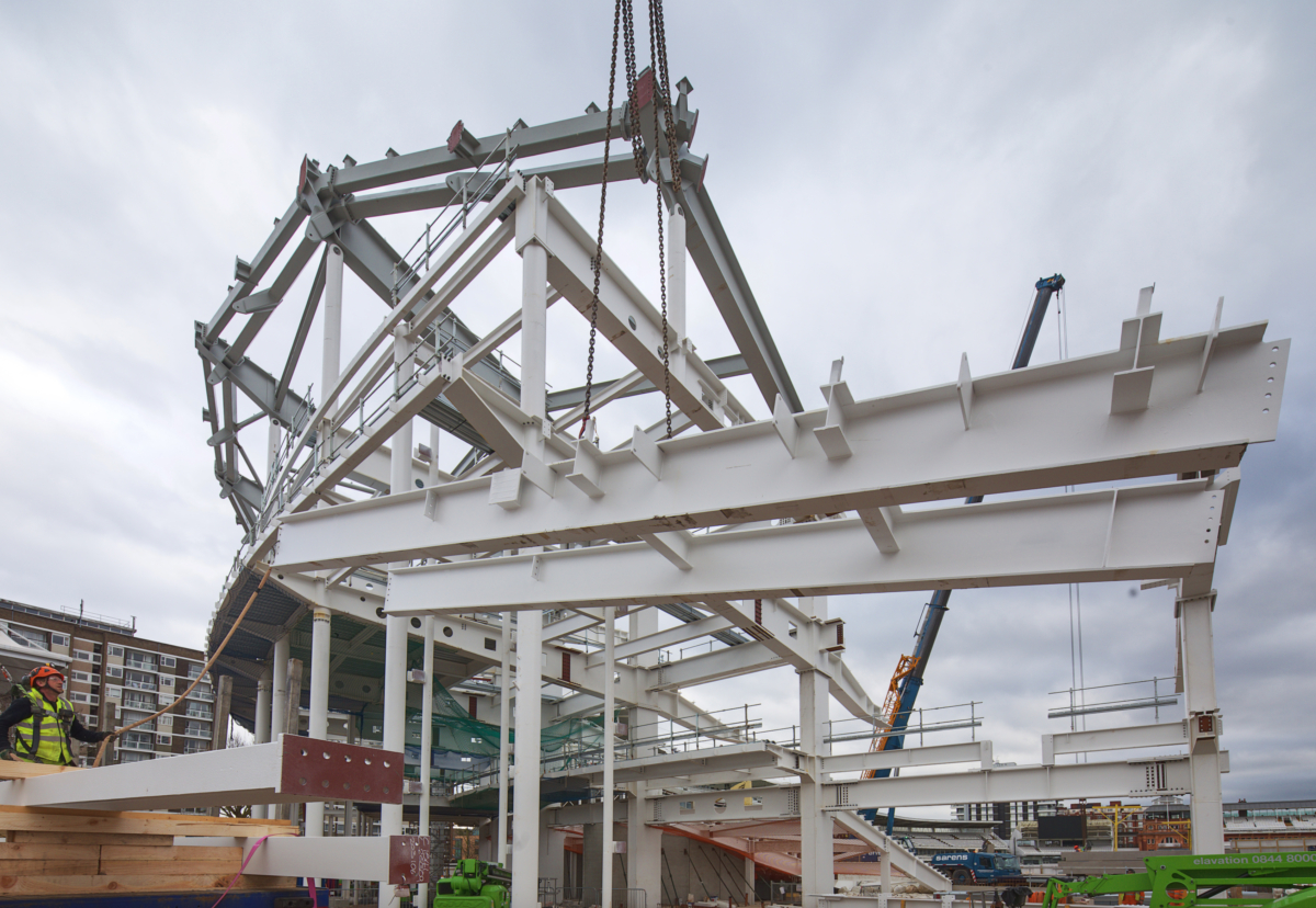 Lord's Cricket Ground stand steelwork being installed