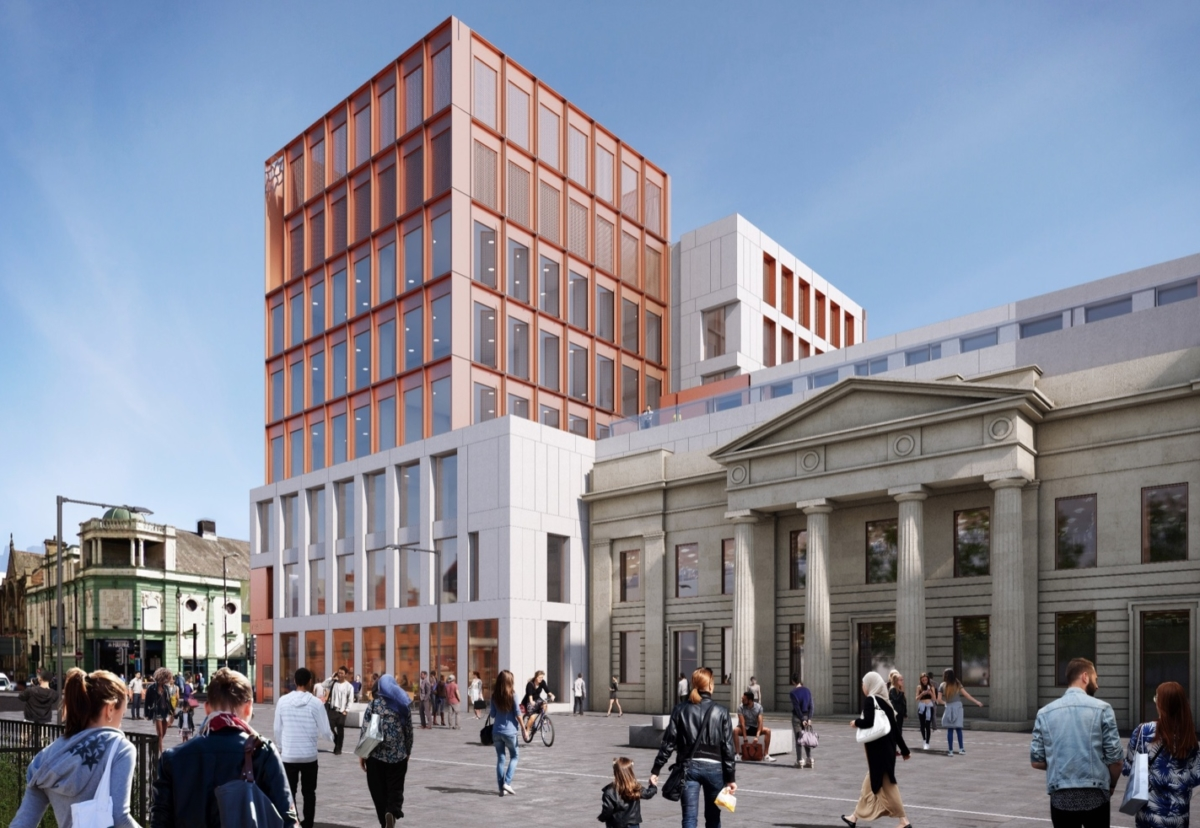 New Arts and Humanities building includes the retained old facade of the former Town Hall