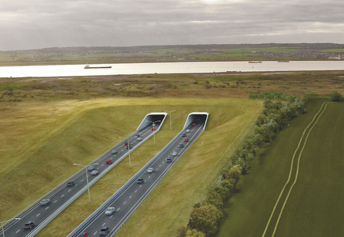 Northern portal of two-mile long dual carriageway crossing between Tilbury and Gravesend