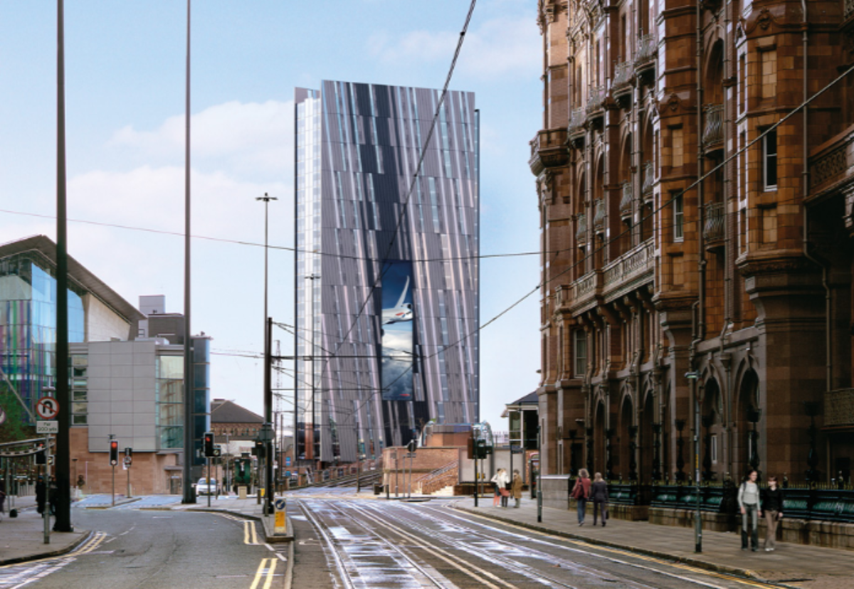 Bronze and glass facade building will include a 30m tall media screen