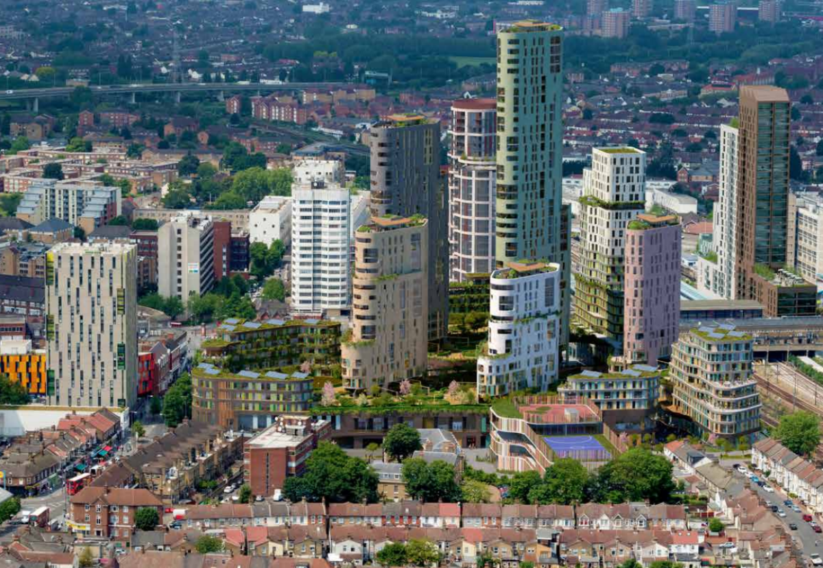 A cluster of five high-rise buildings will stand around a central pedestrian area