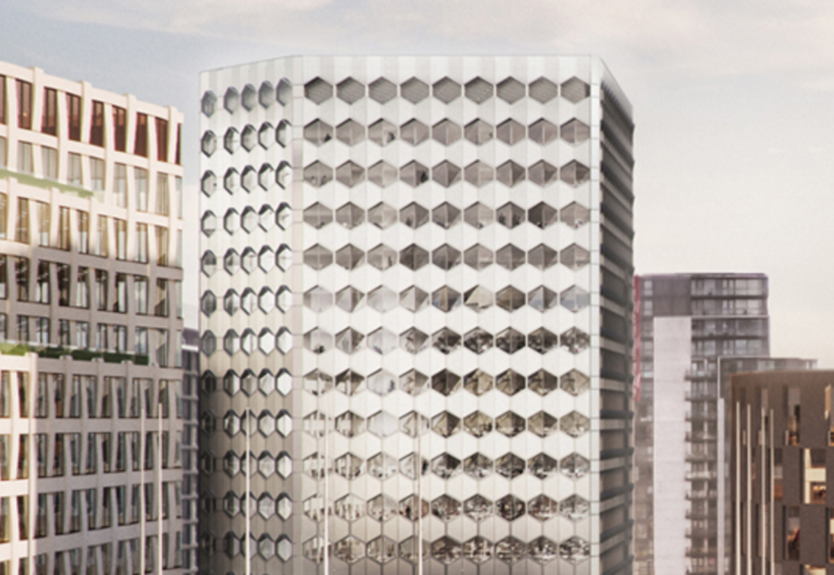 New 14-storey building will be clad in a geometric pattern of hexagonal metallic panels