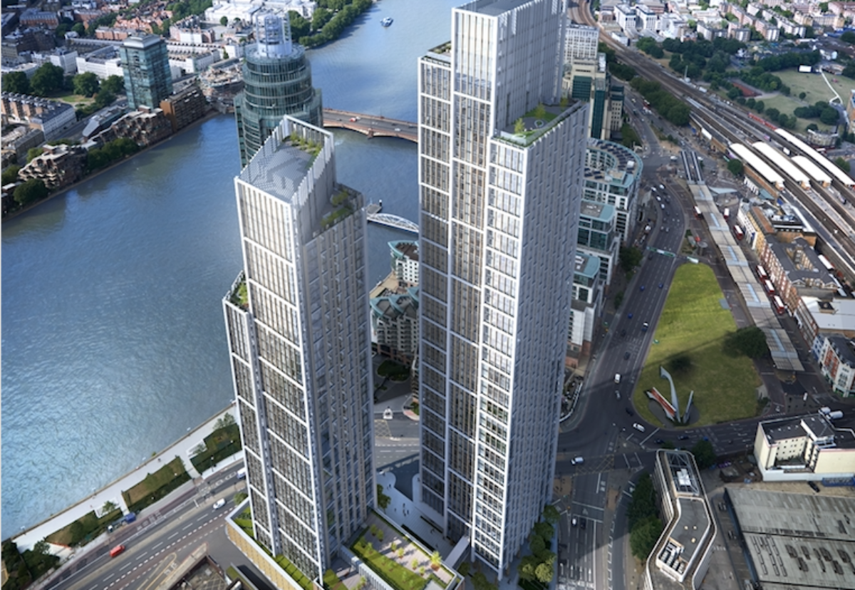 One Nine Elms twin towers are to rise above the neighboring 1 St George skyscraper