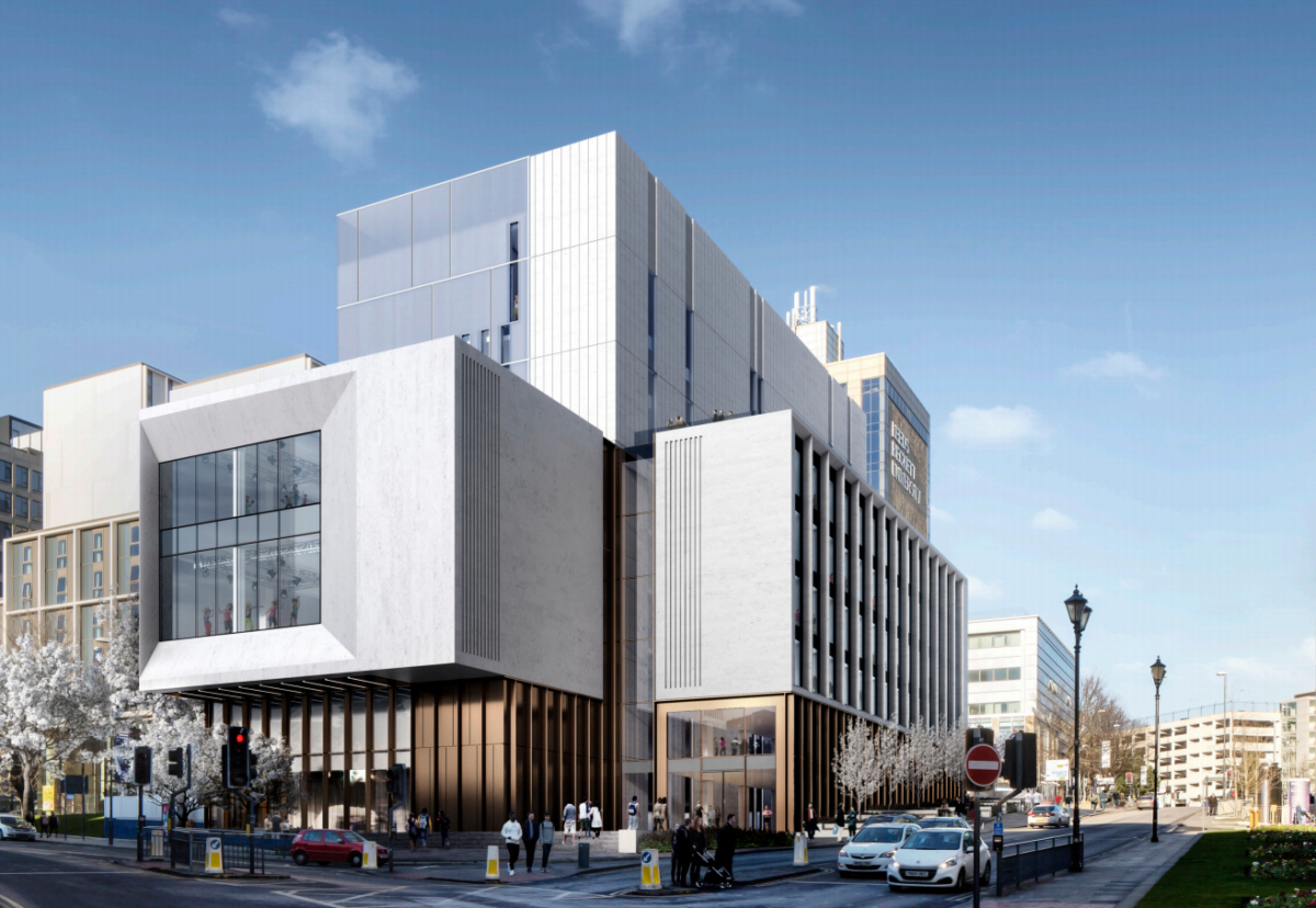 Architect HawkinsBrown designed the 150,000 sq ft Creative Arts Building