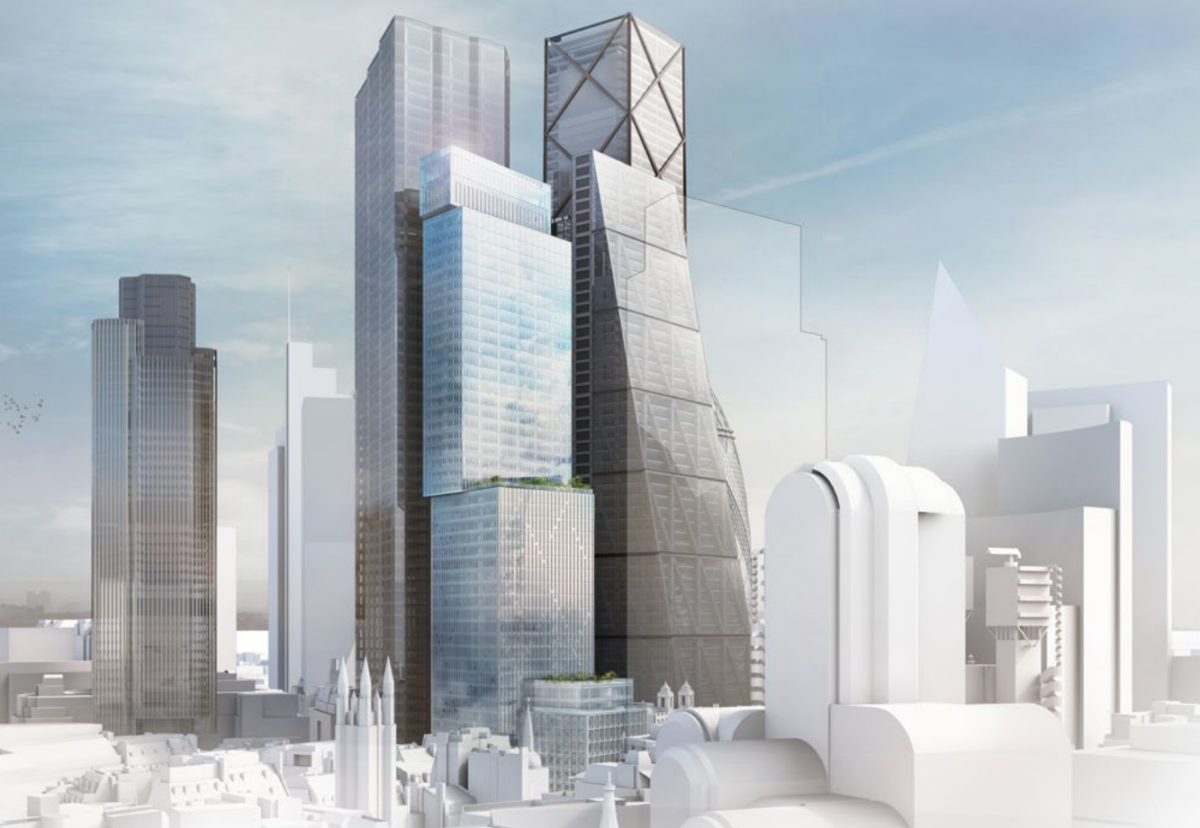 150 Leadenhall Street with planned cluster around the Cheesegrater in London