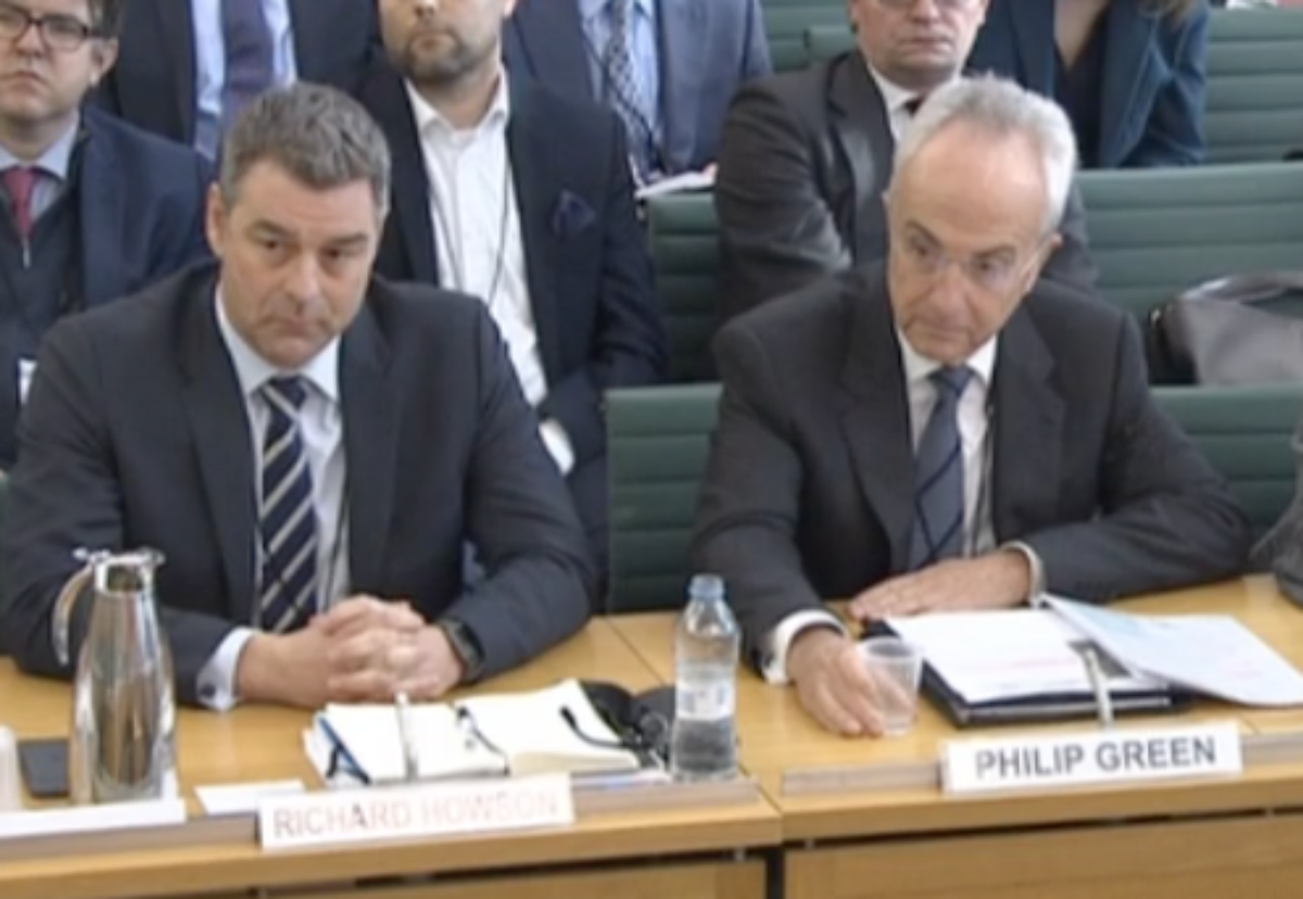 Former CEO Richard Howson and chairman Phillip Green defend their actions