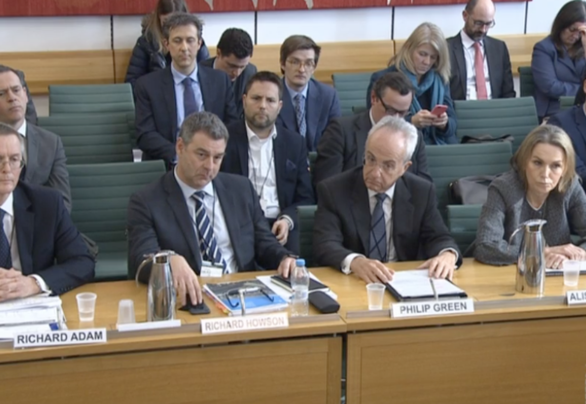 Carillion management team appearing at an earlier hearing of the pension and works committee