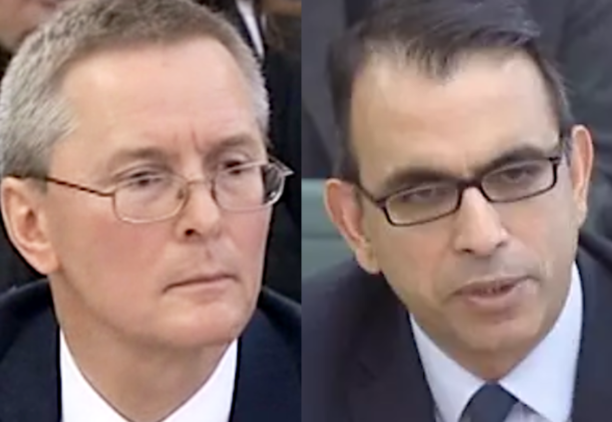 Former Carillion finance directors Richard Adam (lef) and Zafar Khan are being investigated