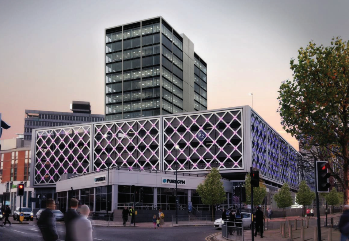 New Merrion Centre tower will offer over 10,000 sq ft of ground floor retail space for a refurbished Home Bargains store and 168,810 sq ft of commercial office space over 16 levels