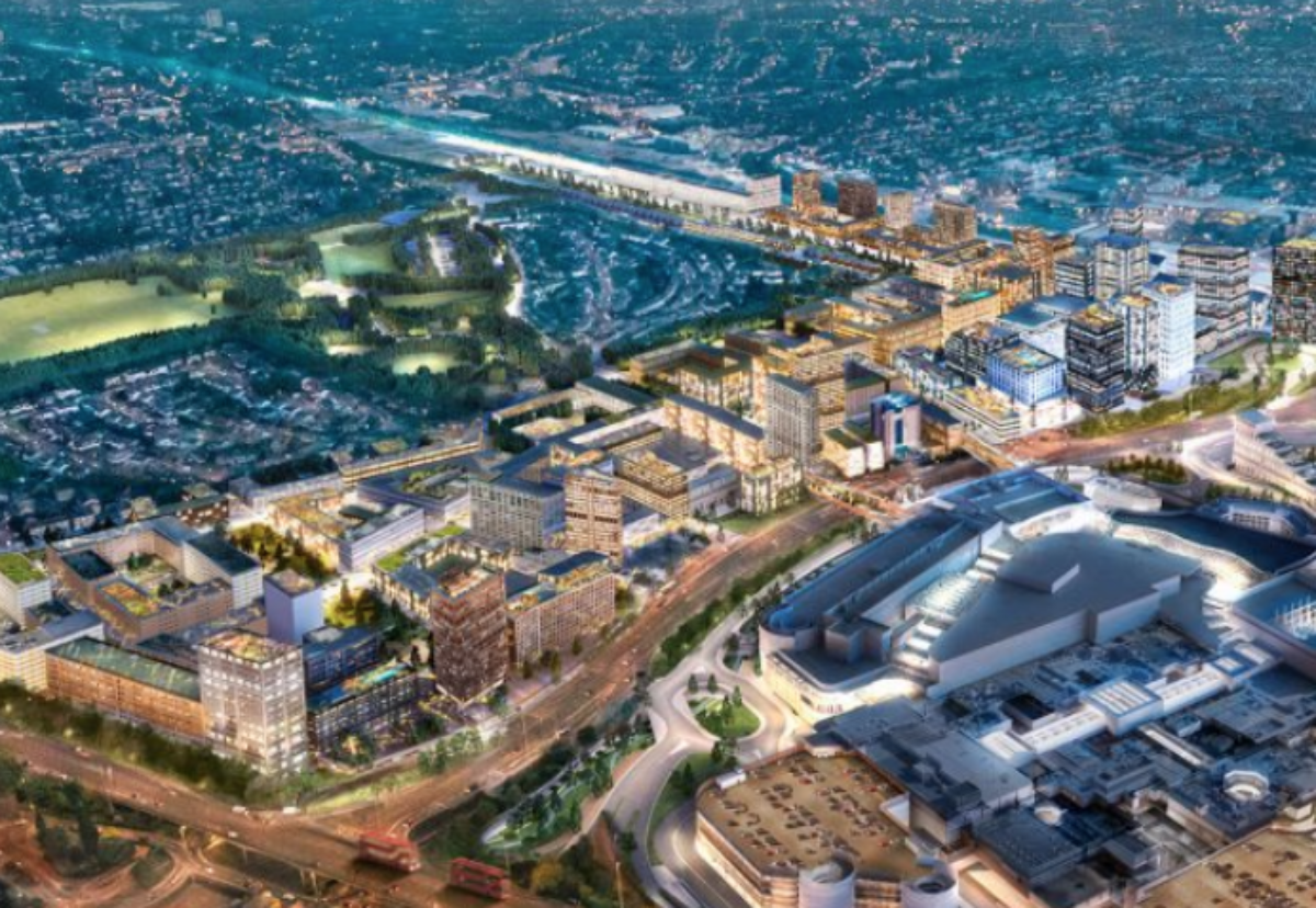 Aerial view of planned Brent Cross South town Centre scheme next to the shopping centre
