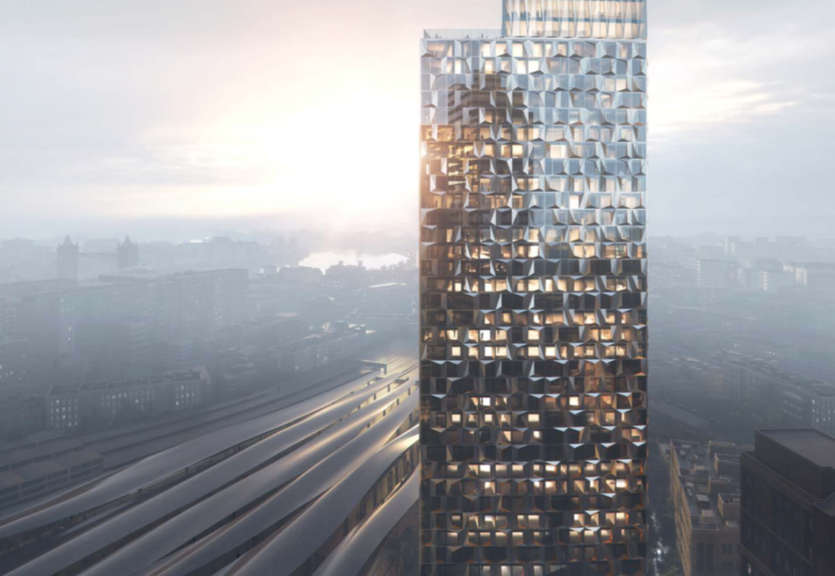 Student skyscraper next to London Bridge station will feature a perforated metal facade that will create a 3D faceted effect