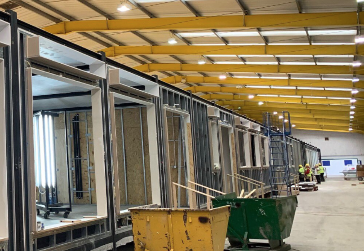 Caledonian Modular factory delivering modules for Harlow secondary school project