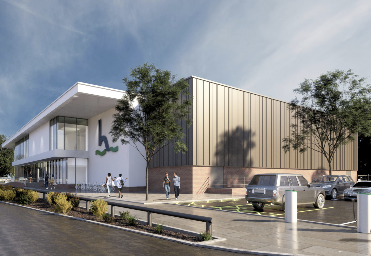 Ellis Williams Architects designed the two-storey swimming pool and sports hall complex