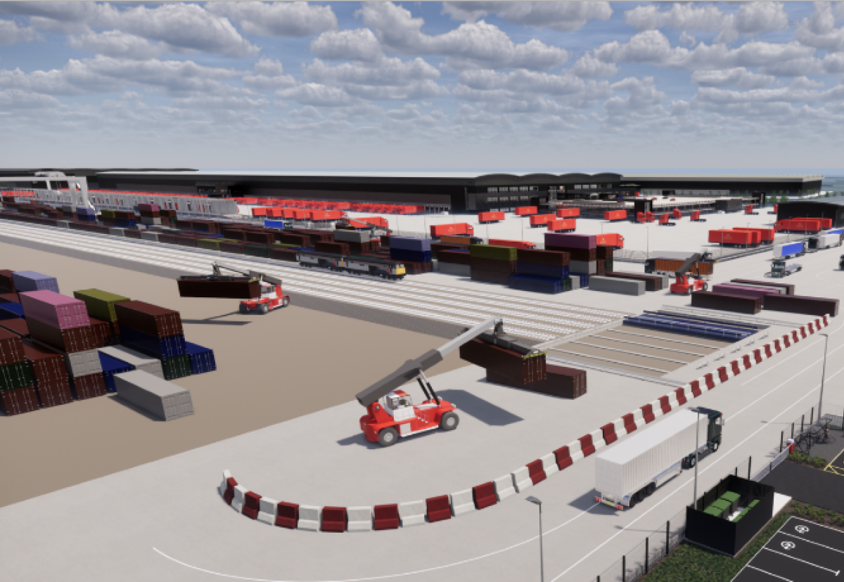 The terminal will be able to receive up to 24 trains each day and the concrete yard will provide space for the storage of 460 containers