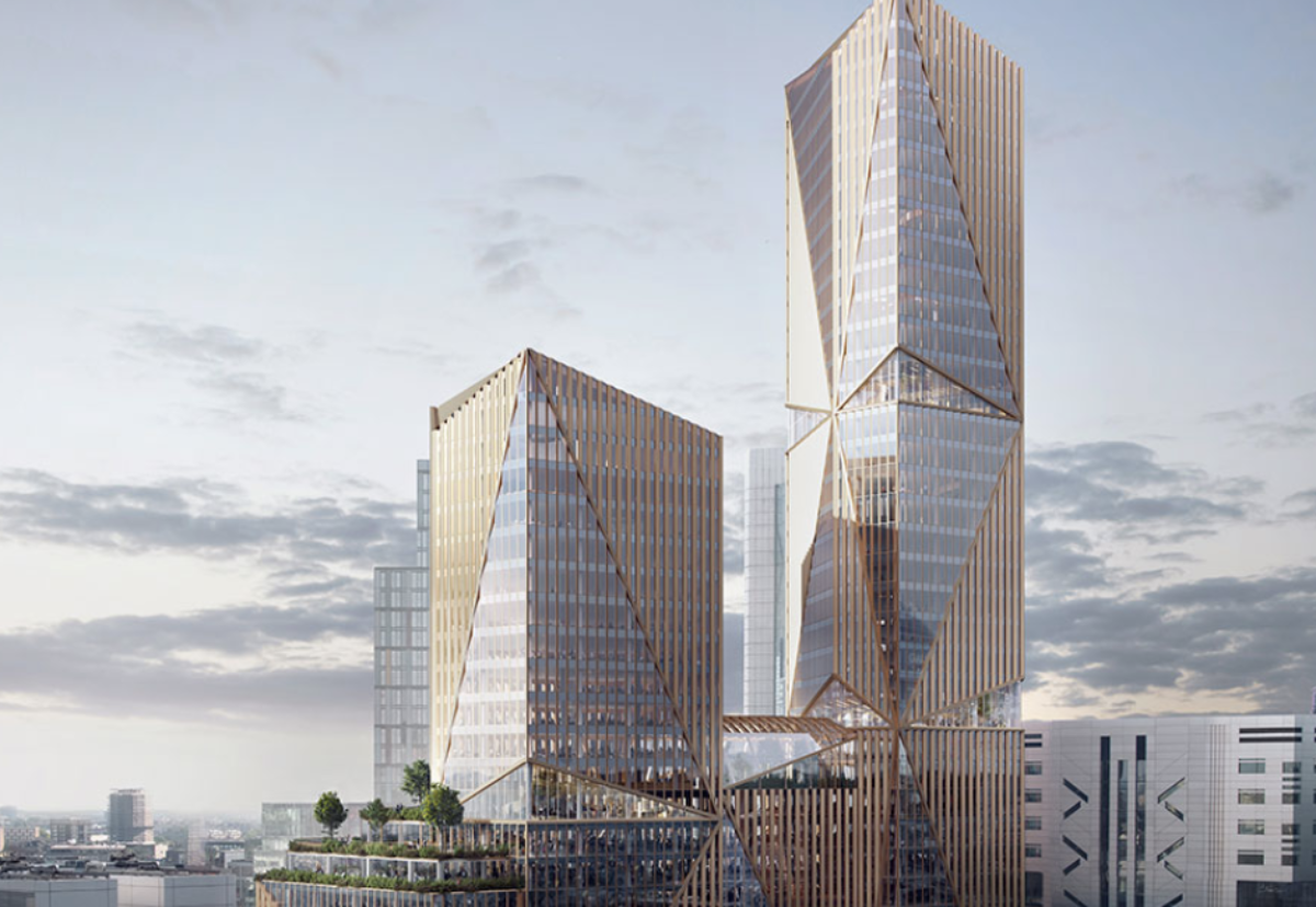 Two main towers will rise from a 12 storey podium building at Broadgate