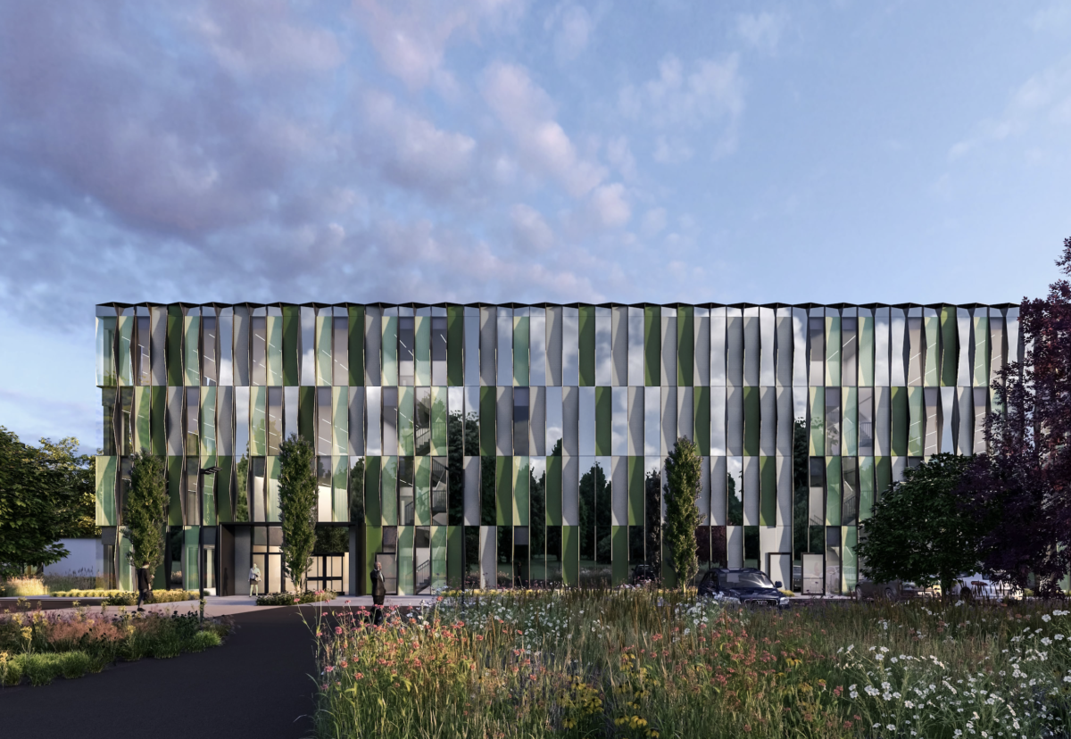 Facade consists of a pattern of repeating fins, and glazed, mirrored and solid panels to reflect the green surroundings