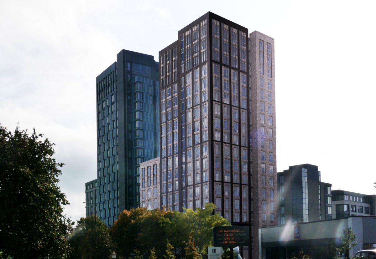 St Mary's Gate student block will sit next to the New Era tower