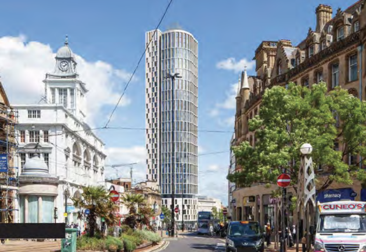 Planned 117m tall residential building on the former Primark site in the Castlegate area of Sheffield