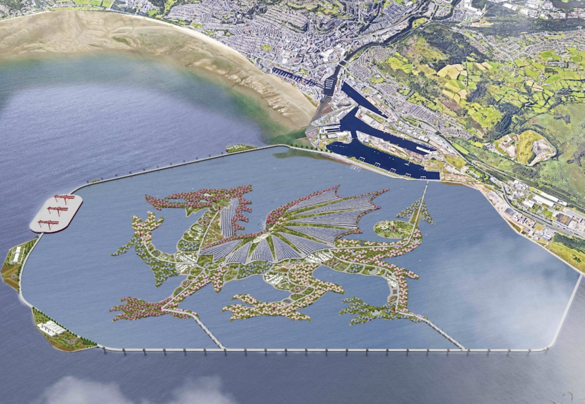 Planned Dragon Energy Island construction plan in Swansea Bay