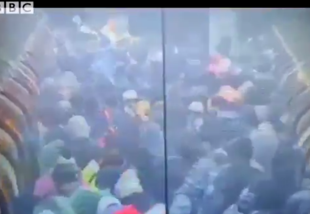 Images of the overcrowded platforms were revealed by the BBC