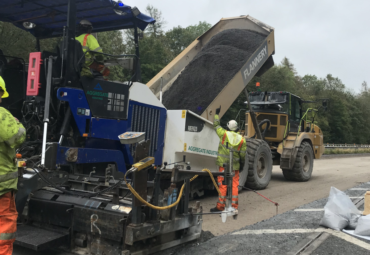 Pavement team laid over a 1,000t of Foamix asphalt per night, working 24 hours a day across two shifts, ensuring minimum disruption to the local area