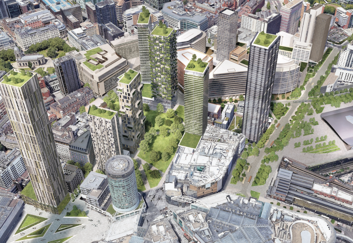 Park Birmingham- a new green space at the city's retail heart bounded by a high rise cluster