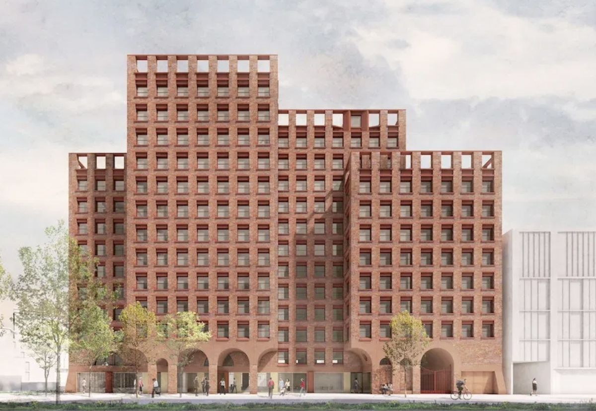 Poland House will consist of four interlocking red brick blocks ranging from 8 to 12 storeys