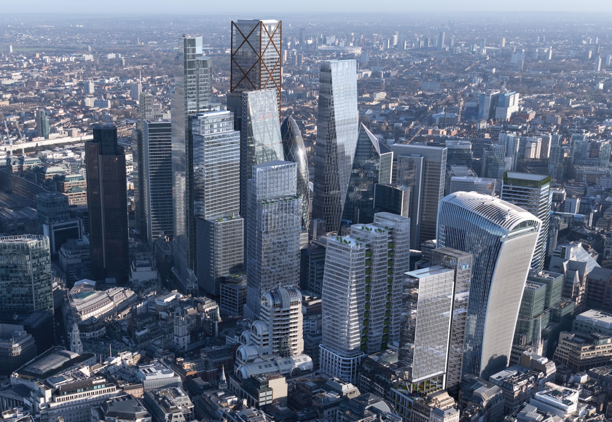 Projected mid-2020s skyline, without six further 75m tall schemes being considered