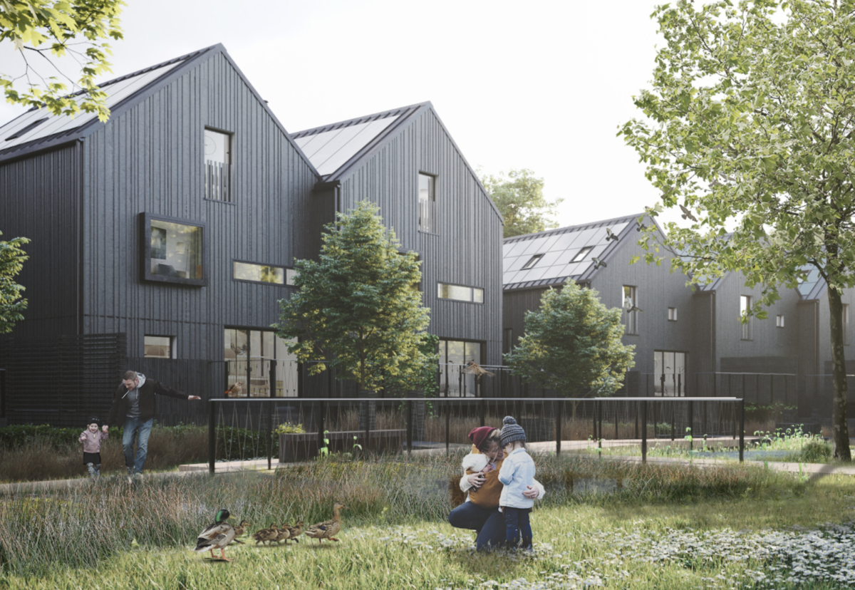 Architect Assael zero-carbon homes next to the River Wey in Hampshire