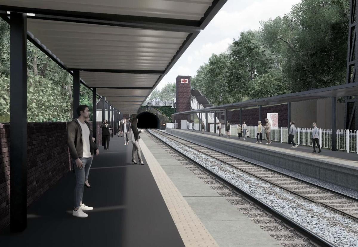 Moseley railway station looking towards moseley tunnel