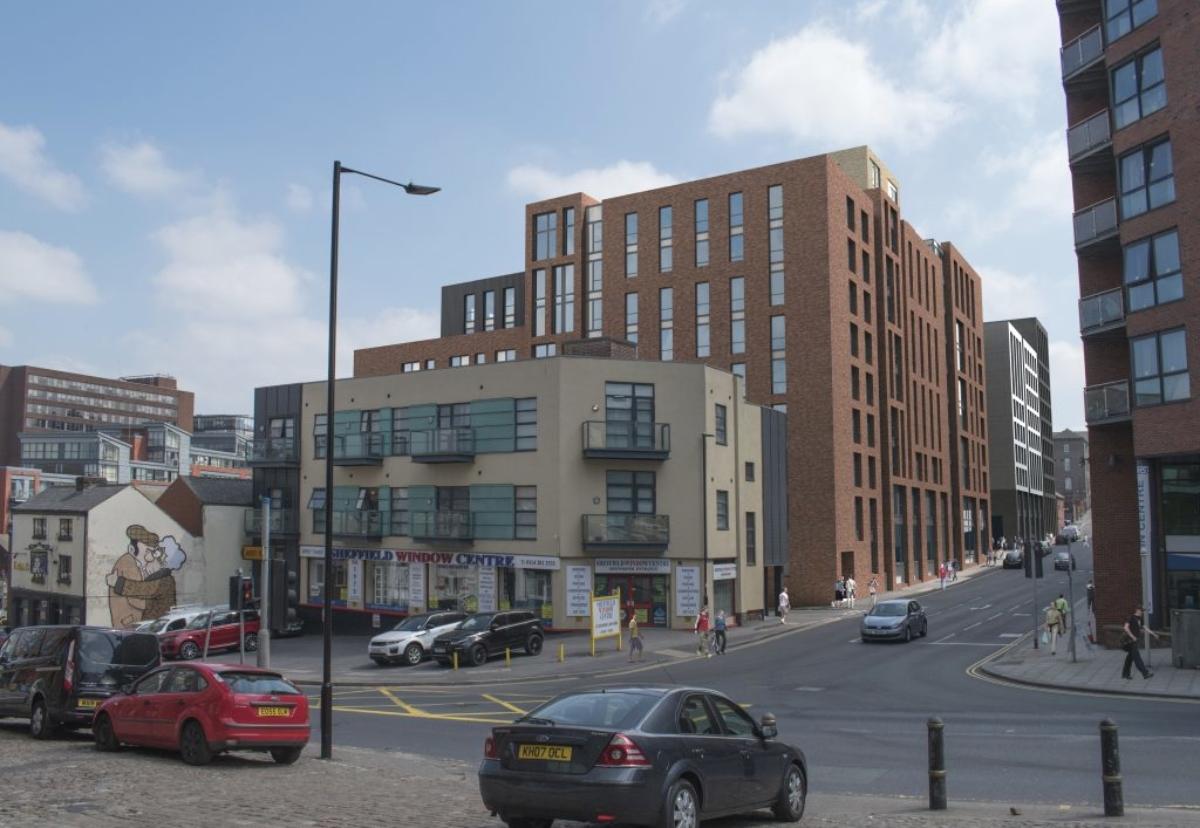 Planned Sheffield Steelworks House scheme on Rockingham Street
